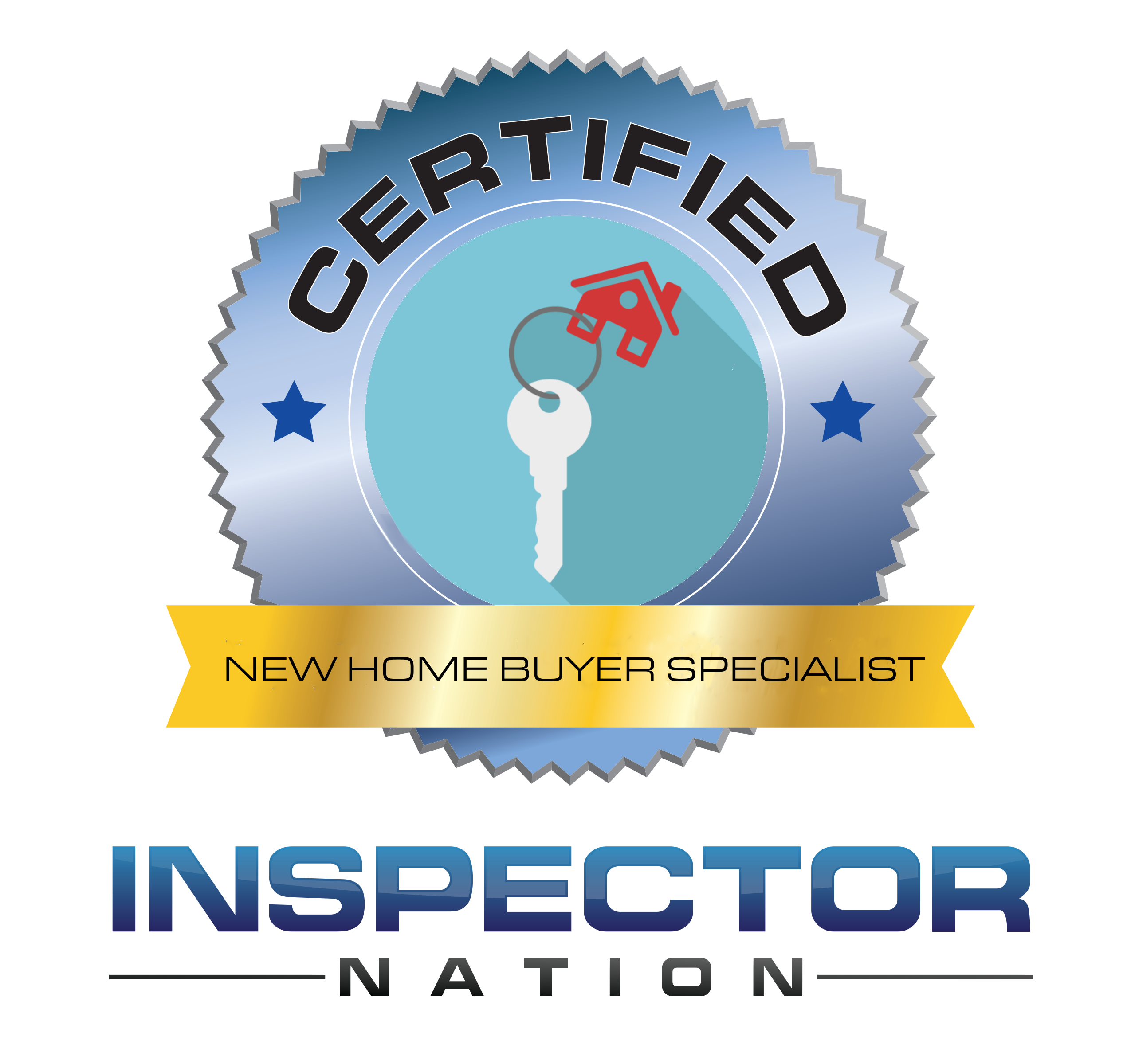 new home buyer specialist inspector nation certified home inspector badge emblem icon