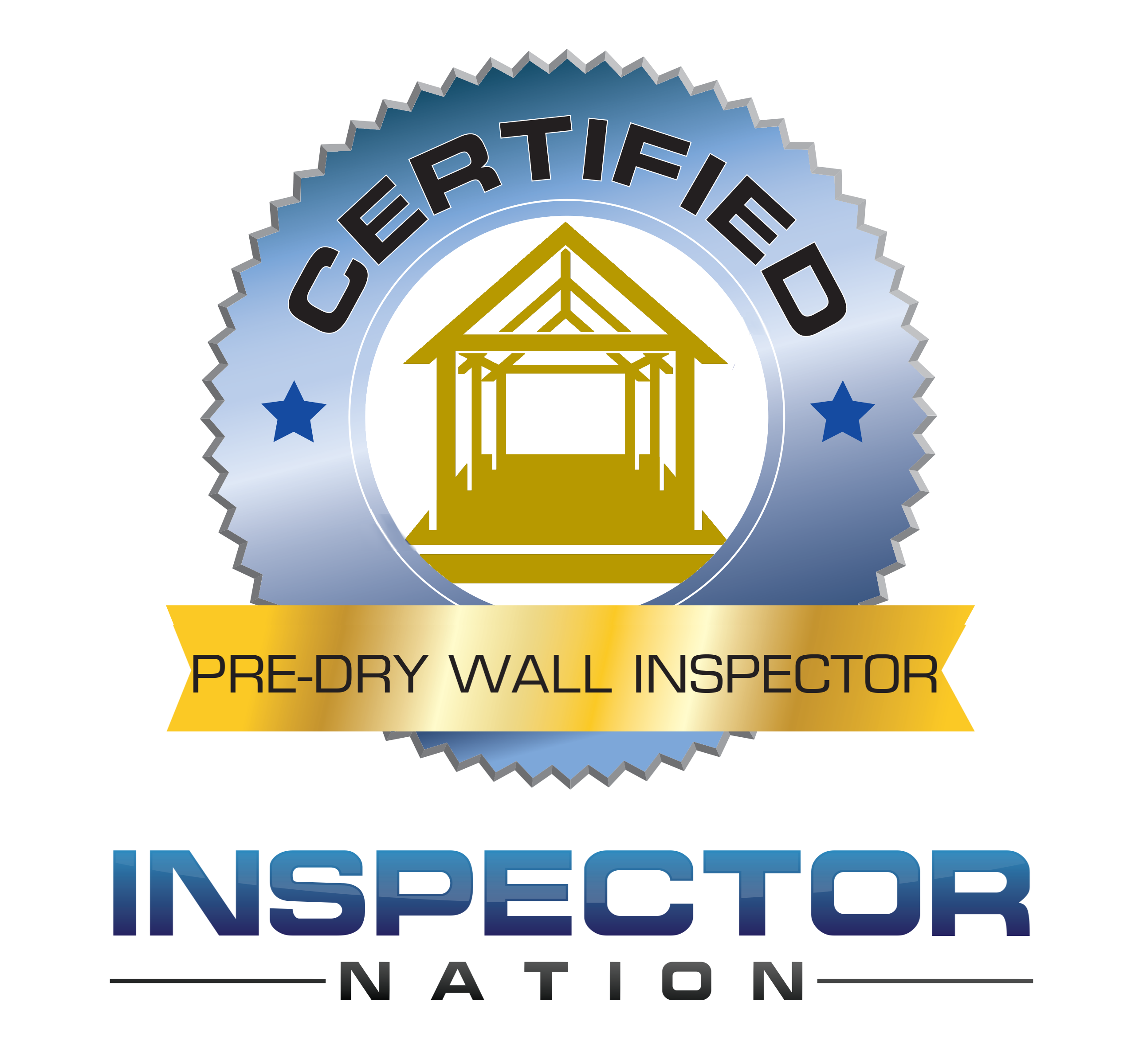pre-drywall inspector dry-wall  inspector nation certified home inspector badge emblem icon