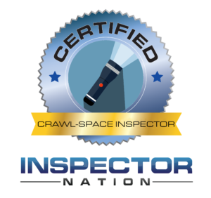 crawlspace and closed crawl-space inspector inspector nation certified home inspector badge emblem icon