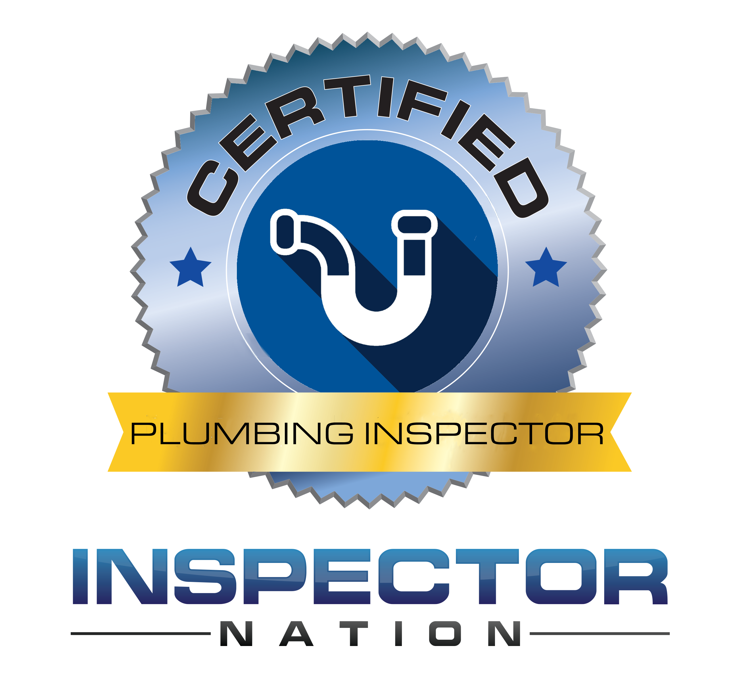 plumbing inspector inspector nation certified home inspector badge emblem icon
