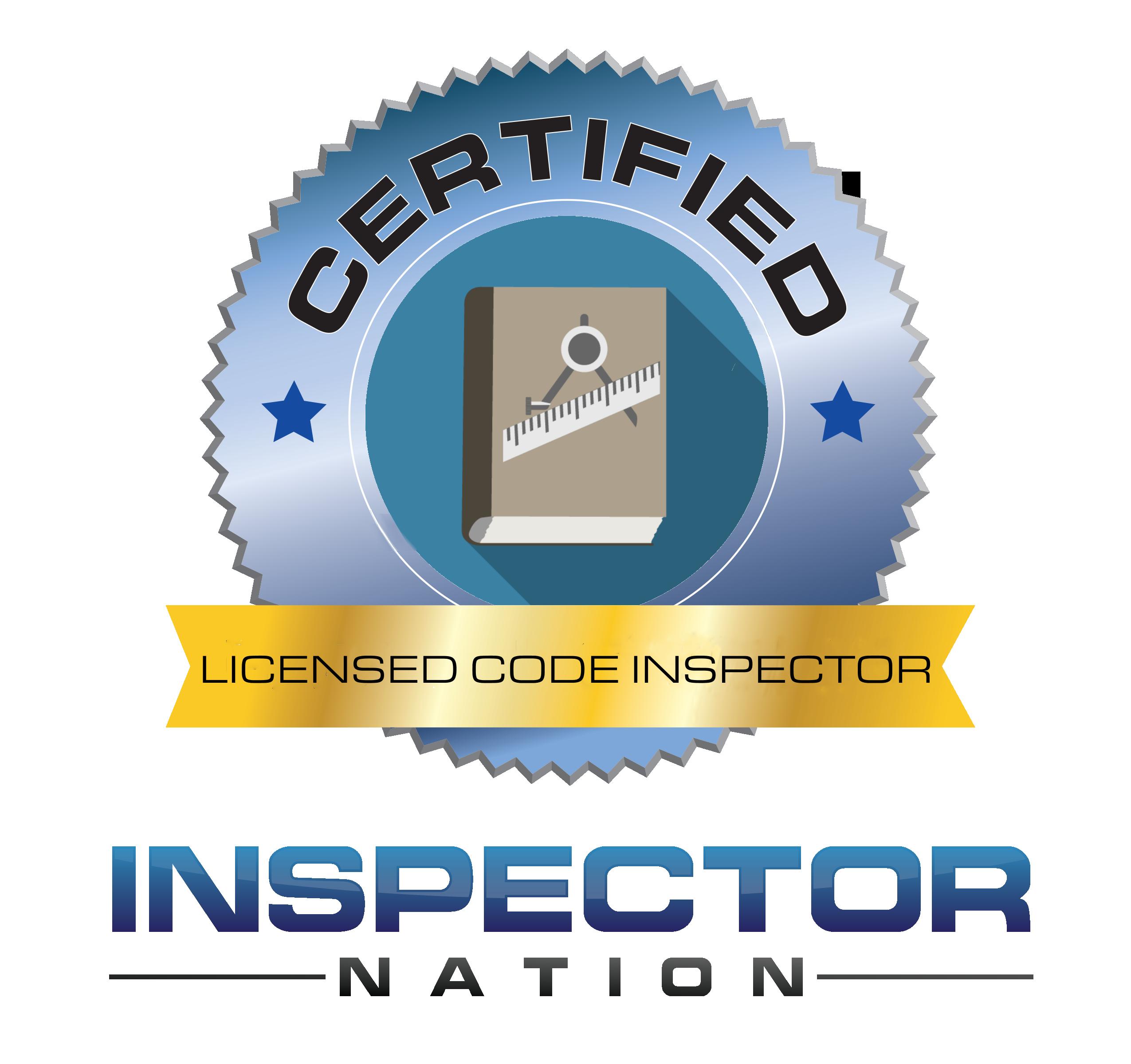 licensed building code inspector inspector nation certified home inspector badge emblem icon