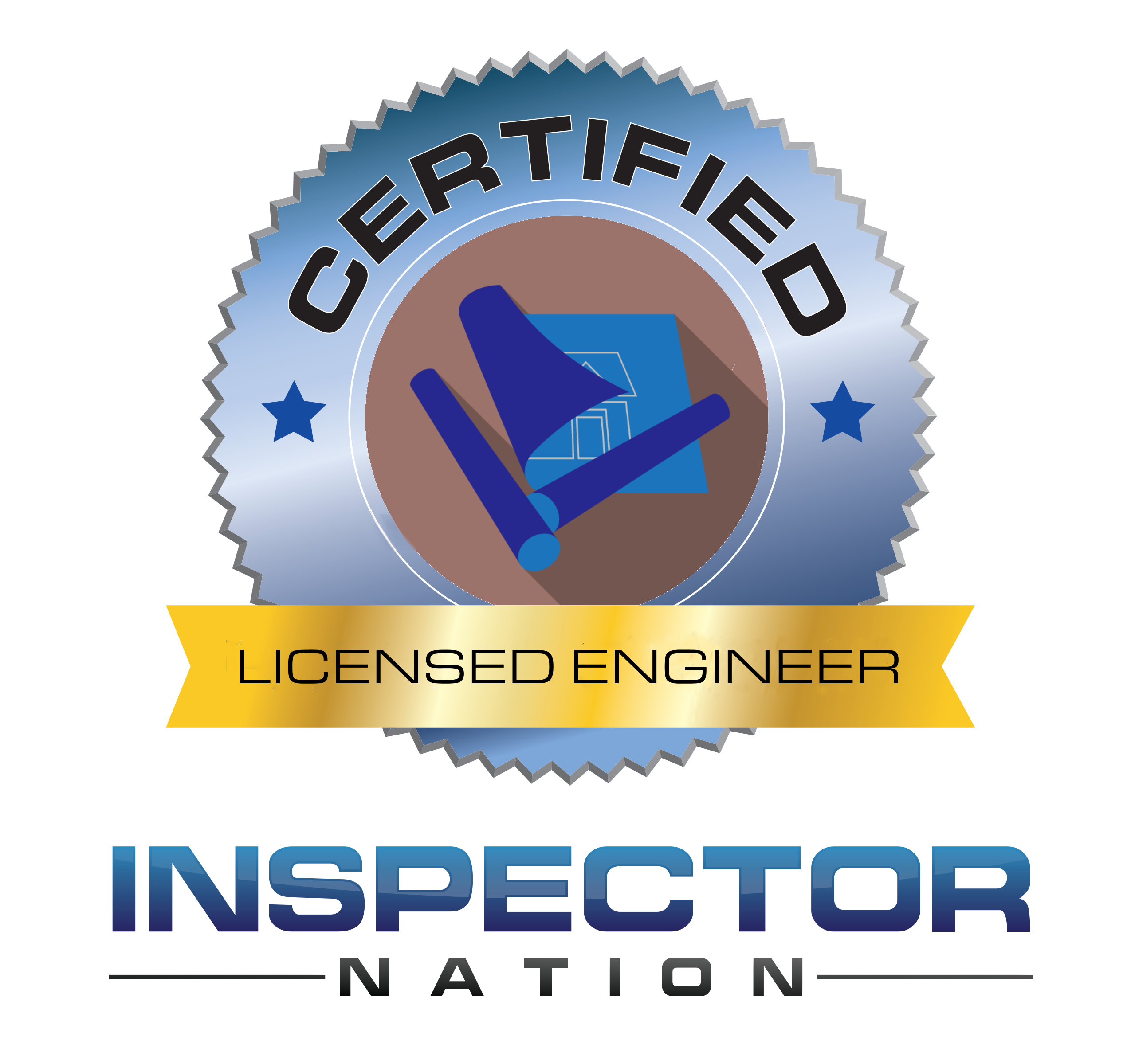 licensed professional engineer inspector nation certified home inspector badge emblem icon