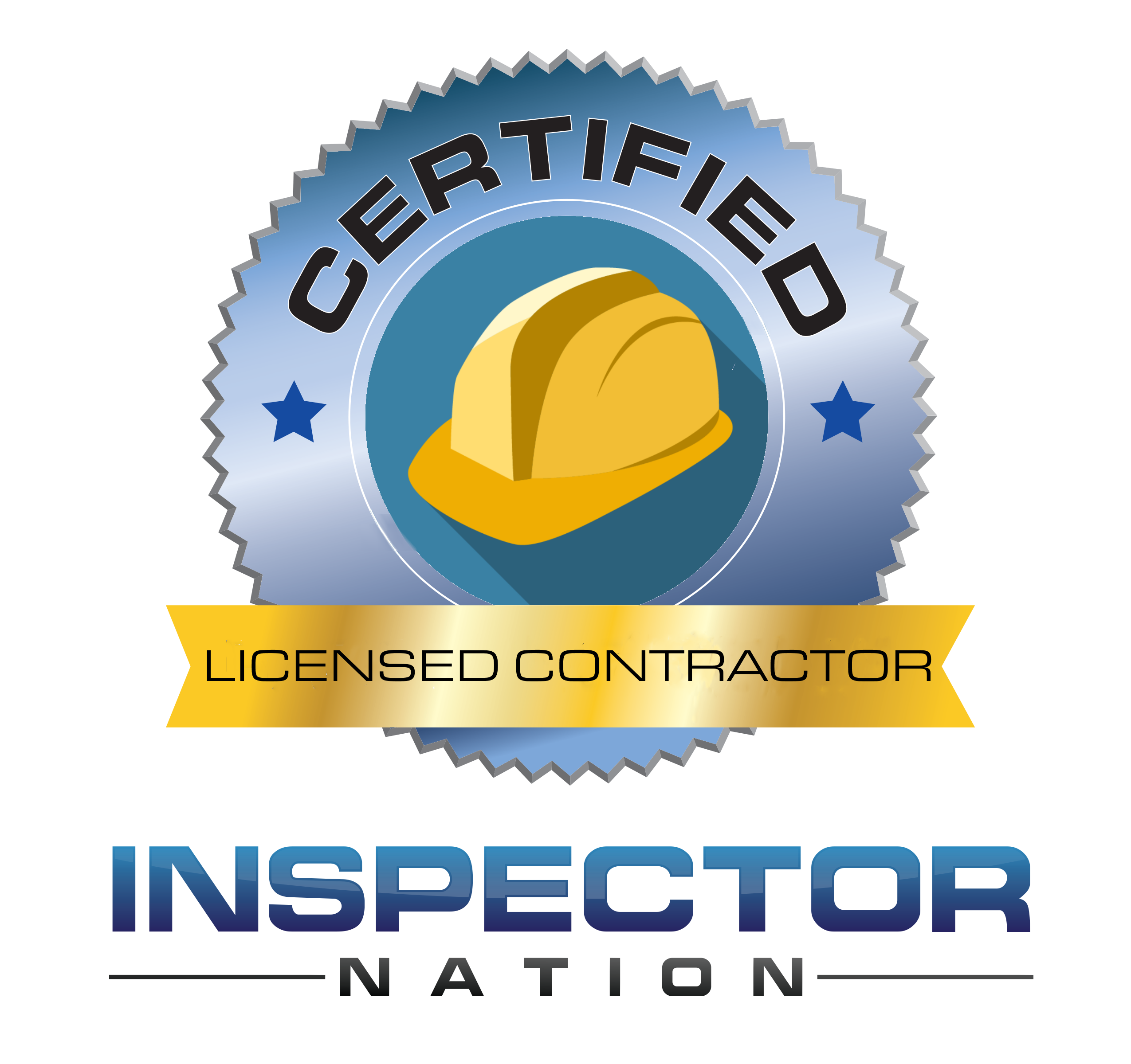 licensed general contractor inspector nation certified home inspector badge emblem icon