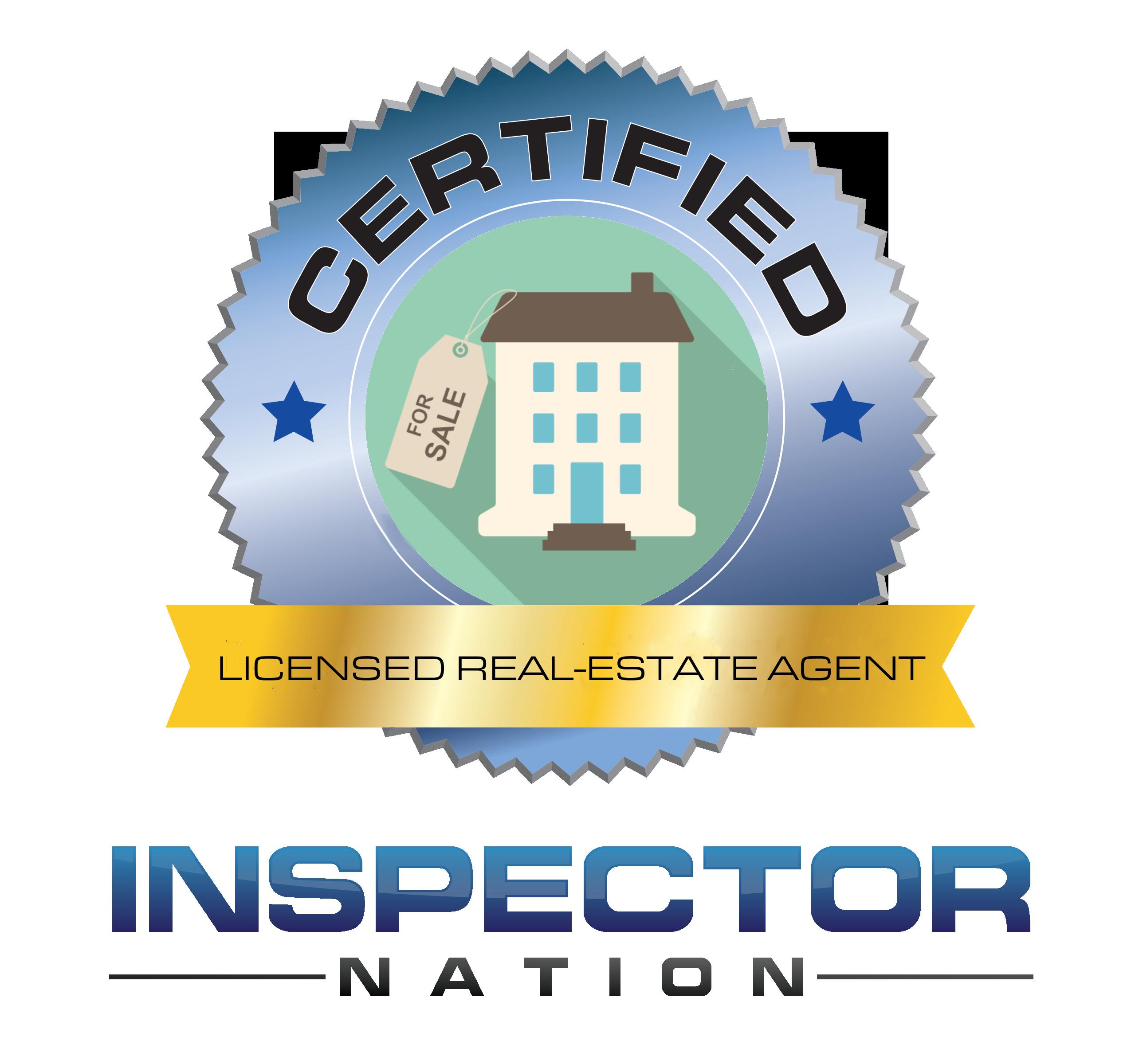 licensed realtor real estate agent inspector nation certified home inspector badge emblem icon