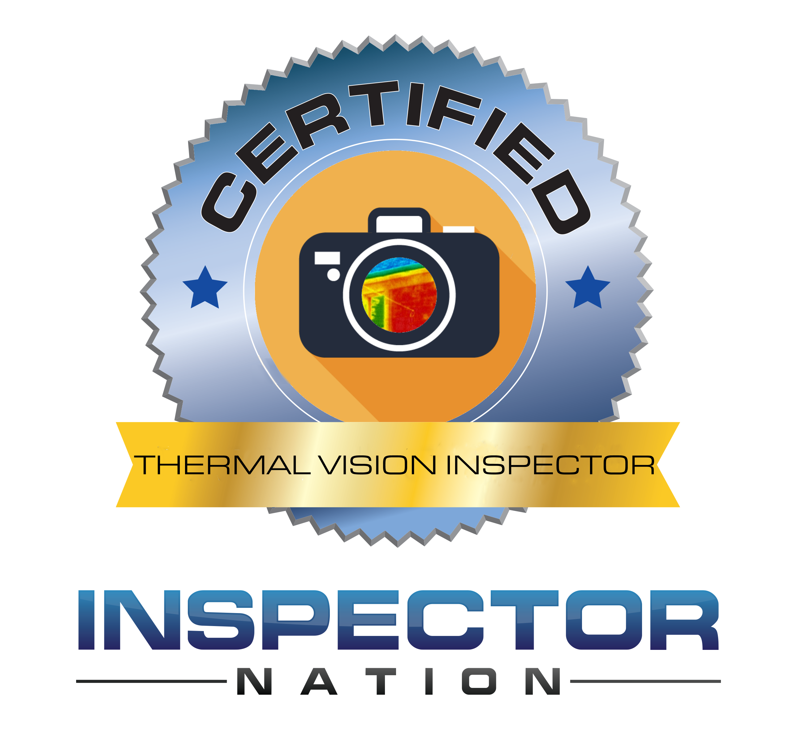 thermal vision and camera inspector inspector nation certified home inspector badge emblem icon