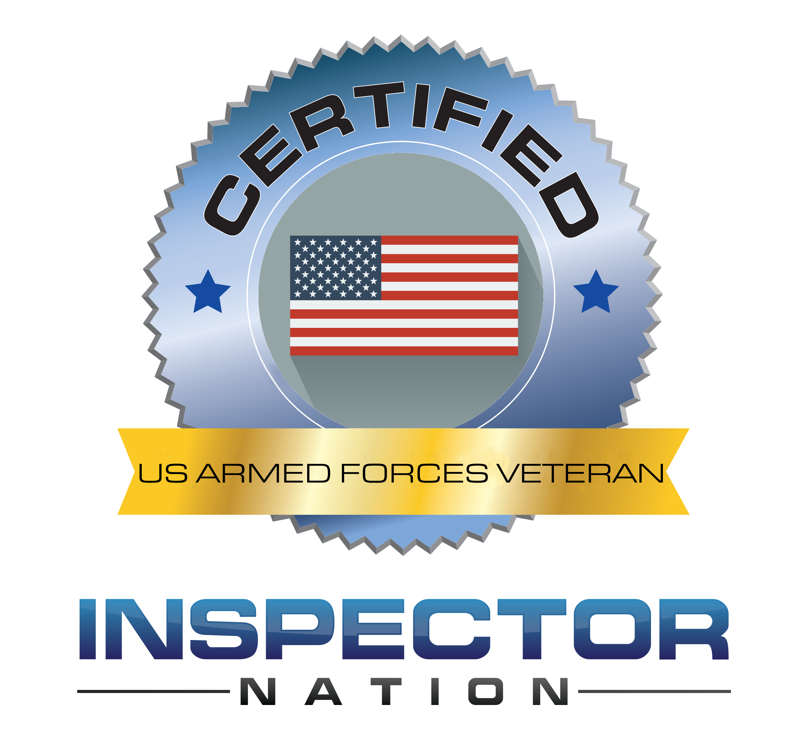united states us armed forces veteran inspector nation certified home inspector badge emblem icon
