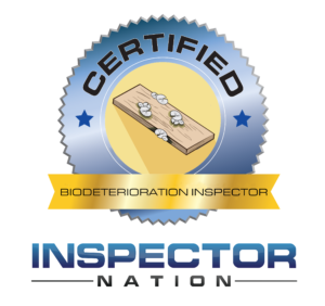 biodeterioration mold wood decay inspector inspector nation certified home inspector badge emblem icon