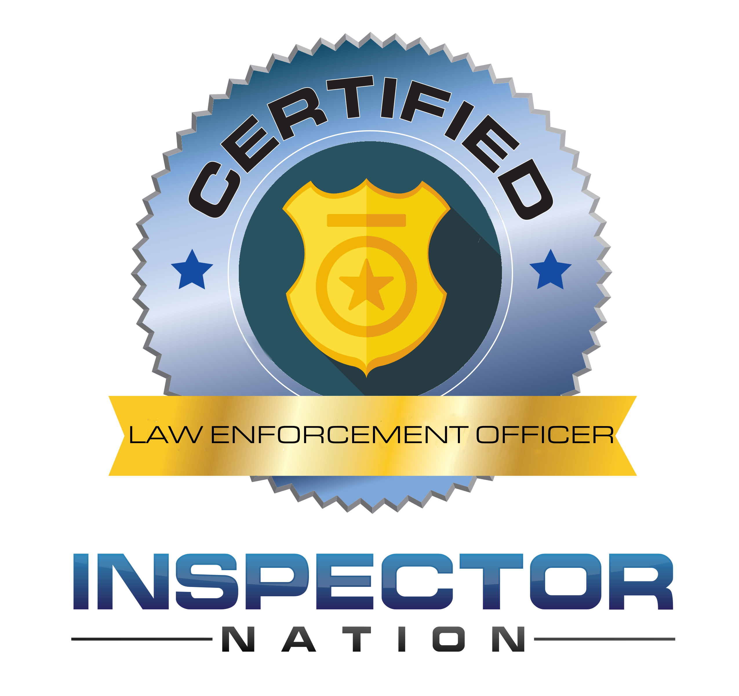 law enforcement officer  inspector nation certified home inspector badge emblem icon